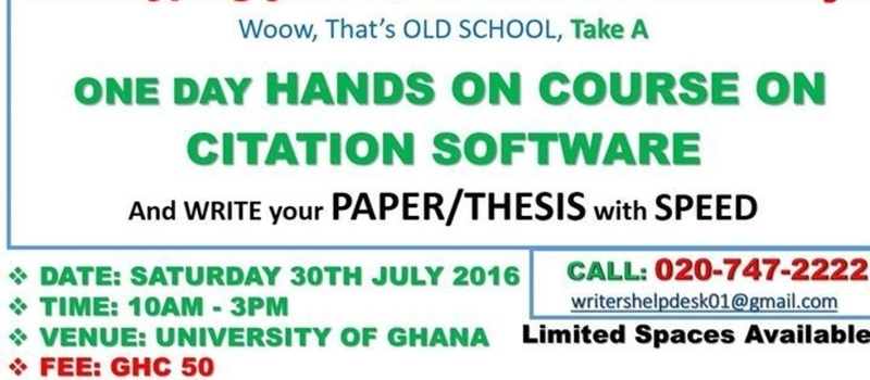 A Day Hands on course on Citation software