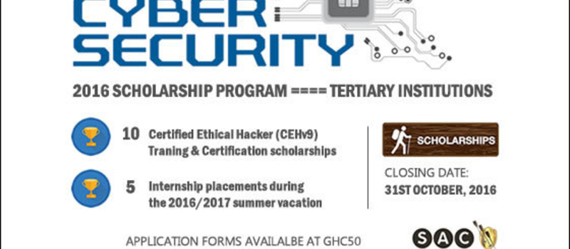 Cybersecurity Scholarship Program: Applications open from 10th July - 31st October, 2016
