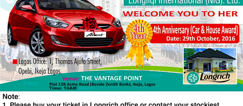 Longrich Nigeria 4th Anniversary (Car & House Award)