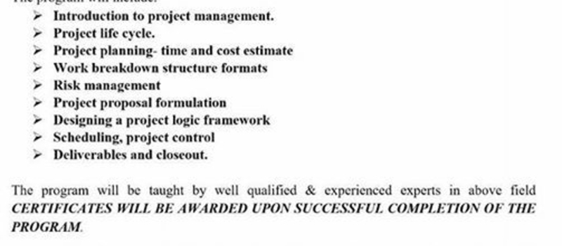 PROJECT FORMULATION AND MANAGEMENT SHORT COUSE