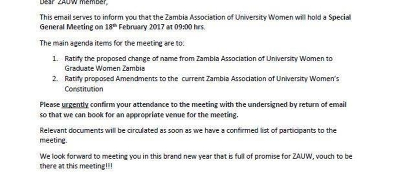 Notice of ZAUW Special General Meeting