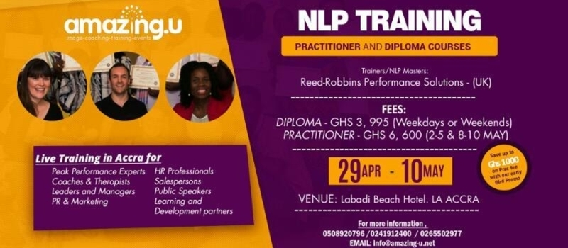 NLP Training in Ghana. PRACTITIONER and DIPLOMA CERTIFICATION