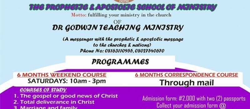 THE PROPHETIC & APOSTOLIC SCHOOL OF MINISTRY