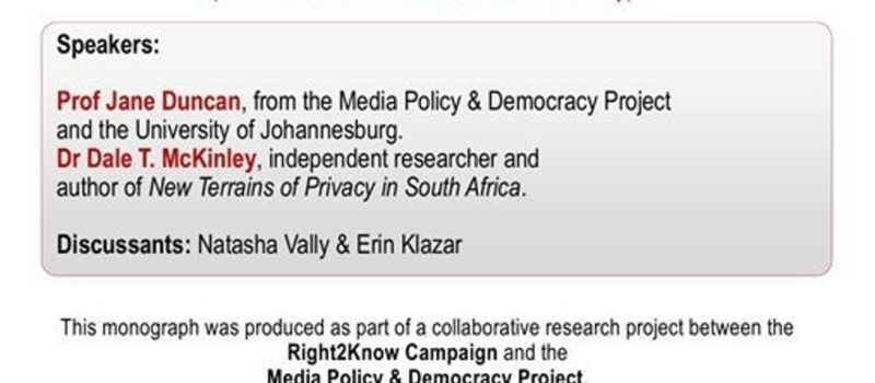 Research Launch: New Terrains of Privacy in South Africa