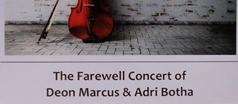 Farewell concert for Deon Marcus and Adri Botha
