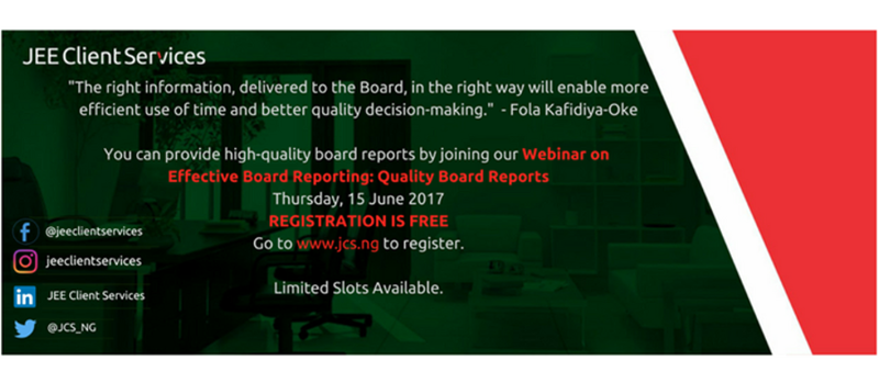 WEBINAR on: ''Effective Board Reporting: Quality Board Reports''