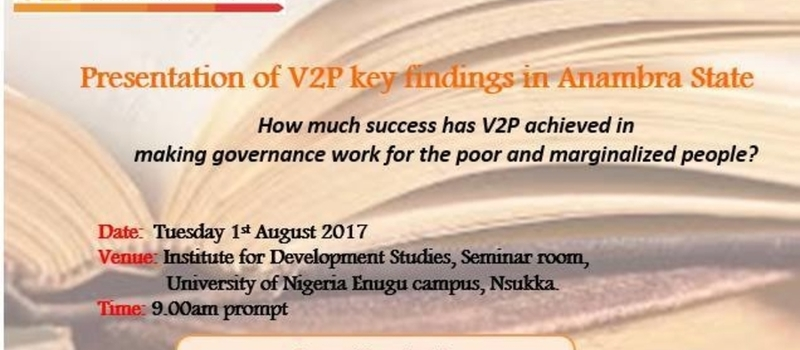 Presentation of V2P key findings in Anambra state