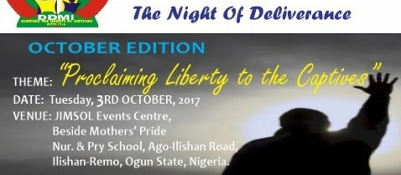 NIGHT OF DELIVERANCE, October Edition