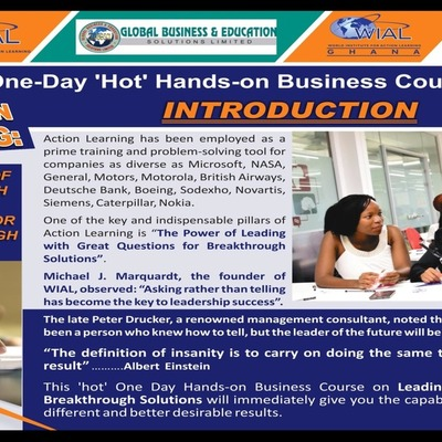 ONE DAY 'HOT' HANDS-ON BUSINESS COURSE ON ACTION LEARNING.