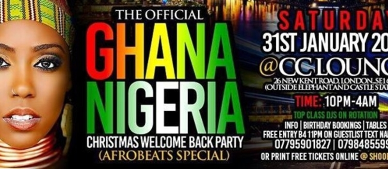 ✦THE OFFICIAL GHANA-NIGERIA✦CHRISTMAS WELCOME BACK PARTY✦AFROBEATS SPECIAL✦@ CC LOUNGE