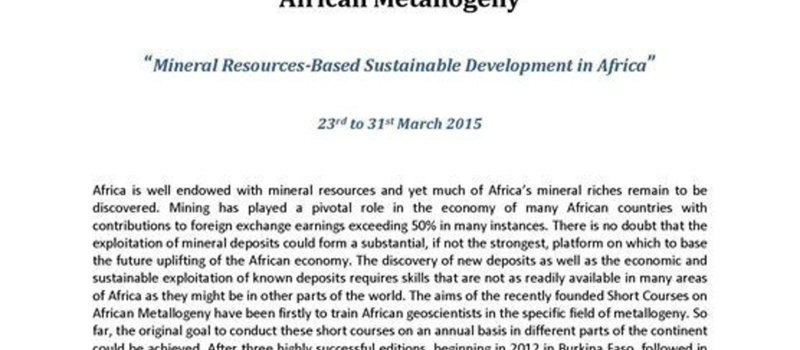 4th SGA-SEG-UNESCO-IUGS Short Course on African Metallogeny