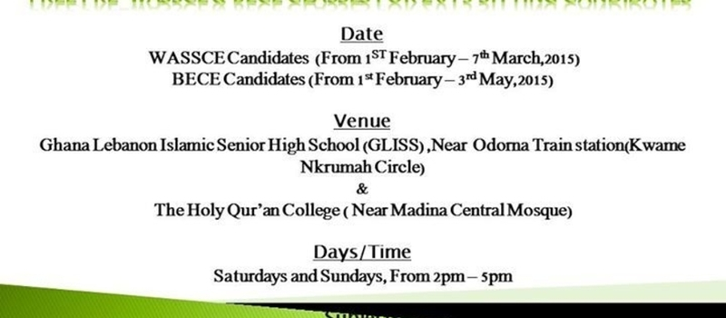 FREE PRE-WASSCE & BECE CLASSES FOR 2015 SITTING CANDIDIATES