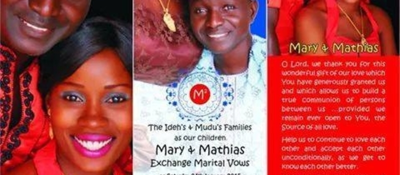 Wedding Invitation of Mathias Frank Mudu & Mary Chinyere Ideh