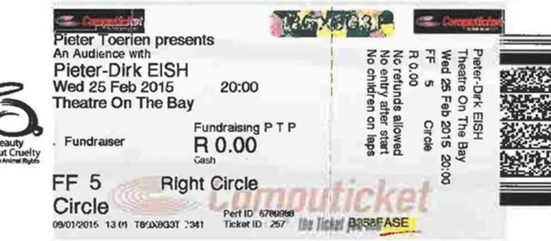 FUNDRAISER; An audience with Pieter Dirk Eish THEATRE ON THE BAY