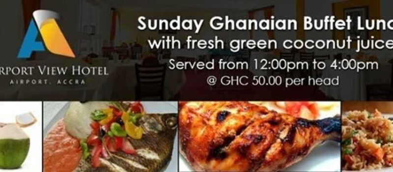 Sunday Ghanaian Lunch Buffet with complimentary fresh green coconut juice