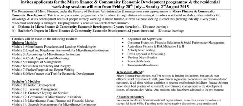 Micro Finance Residential Workshop (20th July to 2nd August 2015)