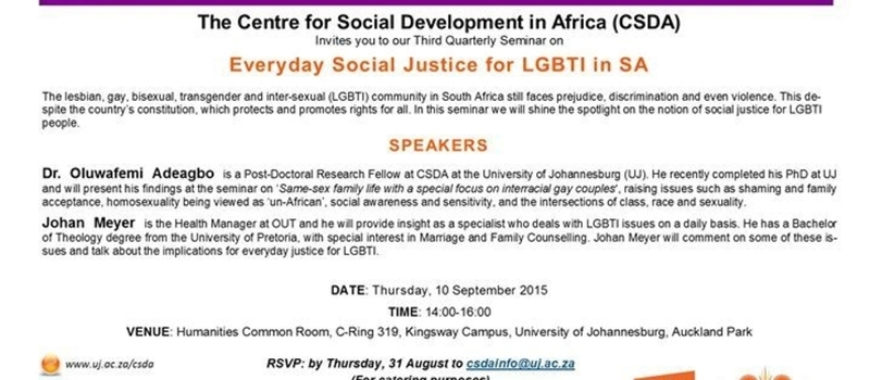 Everyday Social Justice for LGBTI in South Africa (Seminar)