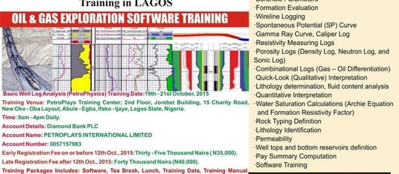OCTOBER Basic Well Log Analysis (PetroPhysics) Training in Lagos