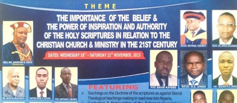 THE NIGERIAN REFORMED BIBLE & THEOLOGICAL CONFERENCE 2015