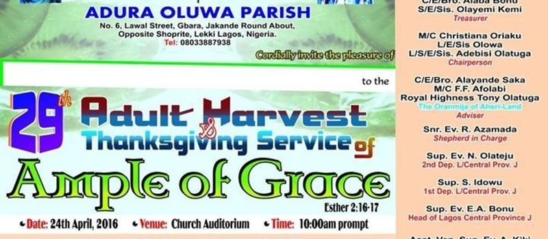 Harvest of AMPLE OF GRACE 2016