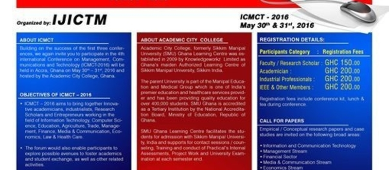 4th International Conference ICMCT to be held on May 30th 2016